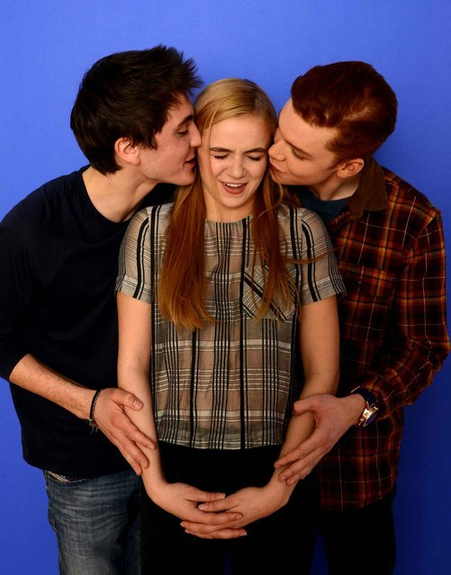 (L-R) Actors Noah Silver, Morgan Saylor, and Cameron Monaghan pose for a portrait during the 2014 Sundance Film Festival at the WireImage Portrait Studio at the Village At The Lift on January 19, 2014 in Park City, Utah. (Photo by Larry Busacca/AFP Photo)