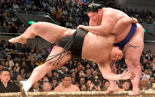 Mongolian Ichinojo (R) throws Okinoumi (L) to win on day four of the Grand Sumo Spring Tournament at Edion Arena Osaka on March 13, 2019 in Osaka, Japan. (Photo by The Asahi Shimbun via Getty Images)