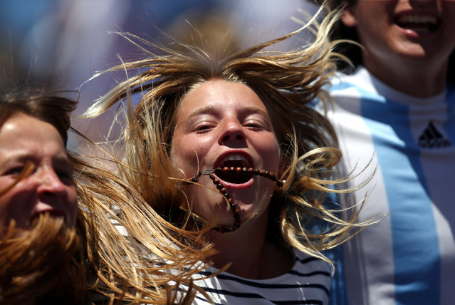 Tennis, Argentina vs Italy, Davis Cup World Group First Round, Parque Sarmiento stadium, Buenos Aires, Argentina on February 6, 2017. Argentine fans cheer during the match between Italy's Fabio Fognini and Argentina's Guido Pella. (Photo by Marcos Brindicci/Reuters)