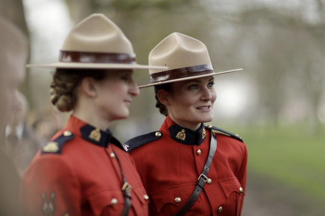 Members of the Royal Canadian Mounted Police Musical Ride, from Ottawa, Canada, speak to people after watching the King's Troop Royal Horse Artillery stage a 41-Gun Royal Salute to celebrate Britain's Queen Elizabeth II's Sapphire Jubilee, marking the 65th anniversary of her accession to the throne in Green Park, London, Monday, February 6, 2017. The 90-year-old queen has become the first British monarch to reach the milestone of 65 years on the throne. (Photo by Matt Dunham/AP Photo)