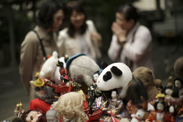 Visitors look at sacrificed dolls during the Festival of Repayment of Kindness at Dairoku-tensakaki Shrine in Tokyo, Saturday, May 16, 2015. (Photo by Eugene Hoshiko/AP Photo)
