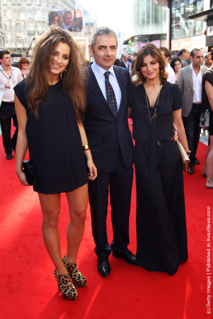 Johnny English Reborn – UK Premiere, Lily Atkinson, actor Rowan Atkinson and Sunetra Sastry