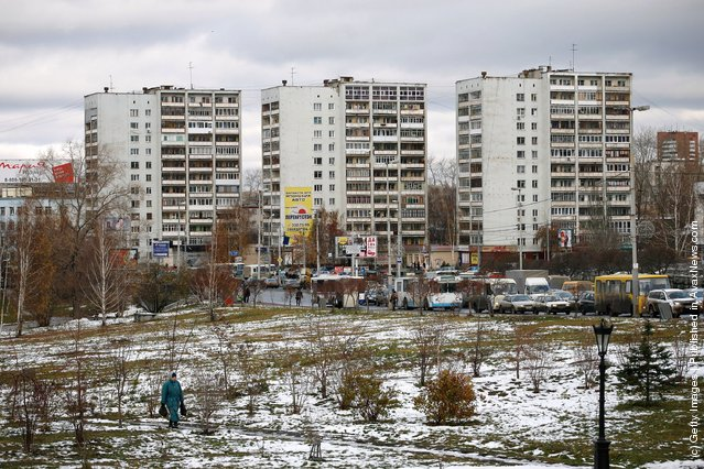 A general view of three apartment blocks in Yekaterinburg, Russia