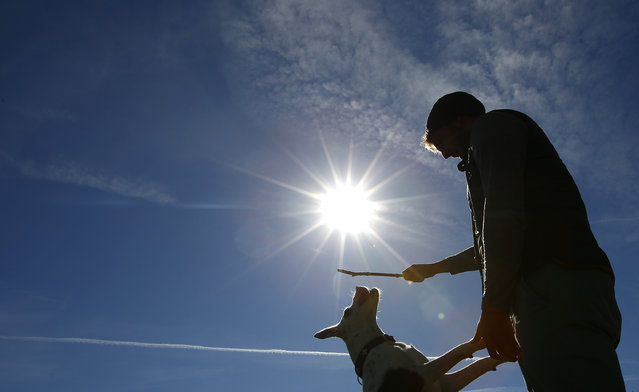 """A man plays with his dog on a sunny spring day in the """"Englischer Garten"""" in Munich March 20, 2014. Spring officially began on Wednesday in the northern hemisphere, and is known as both the spring or vernal equinox. (Photo by Michaela Rehle/Reuters)"""