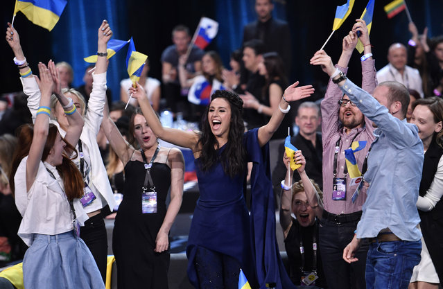 Ukraine's Jamala celebrates after learning that she advanced to the final during the second Eurovision Song Contest semifinal in Stockholm, Sweden, Thursday, May 12, 2016. (Photo by Martin Meissner/AP Photo)