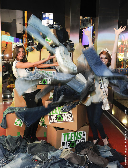 Miss New York USA 2012 Johanna Sambucini and  Miss New York USA Teen 2012 Sabrina Mastrangelo attend the Miss USA And Miss Teen USA Beauty Queens how Support For 5th Annual 'Teens For Jeans' at Aeropostale Times Square