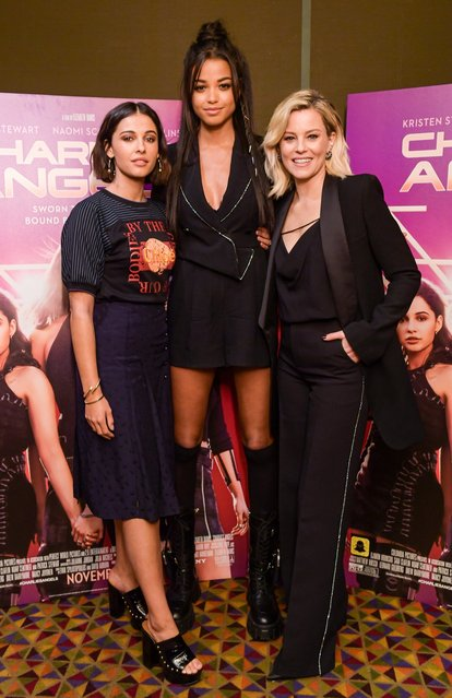 (L-R) Naomi Scott, Ella Balinska and actress/filmmaker Elizabeth Banks attend a Charlie's Angels VIP Screening Hosted by Elizabeth Banks and Natalie Zfat, in Partnership with Harry & David at AMC Empire 25 on November 05, 2019 in New York City. (Photo by Ben Gabbe/Getty Images for Sony Pictures)