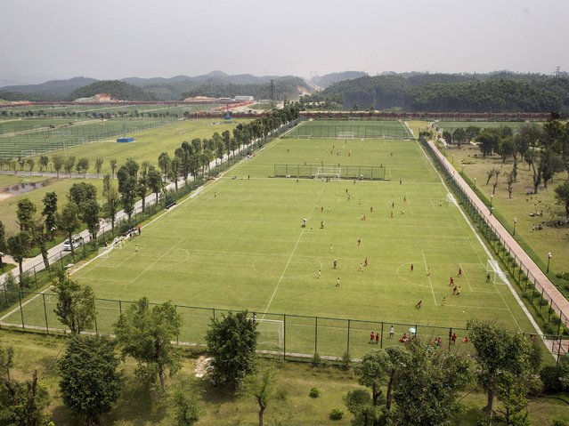 A view of some of the 50 pitches at the at the Evergrande International Football School near Qingyuan in Guangdong Province. (Photo by Kevin Frayer/Getty Images)