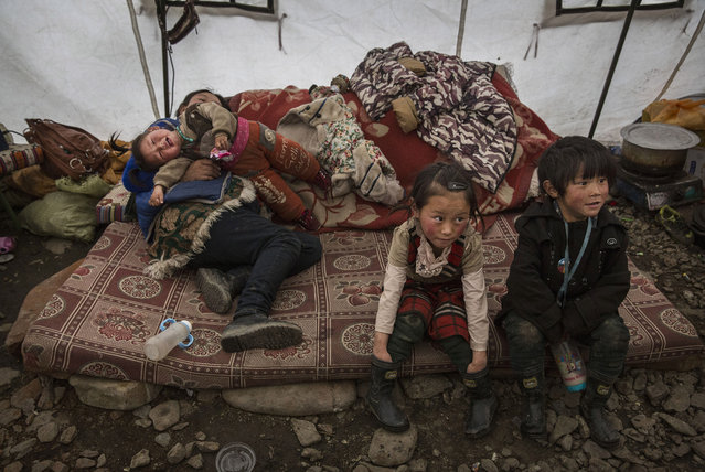 Tibetan children sit on a mattress in a tent at a temporary camp for cordycep pickers on May 23, 2016 on the Tibetan Plateau near Zadoi in the Yushu Tibetan Autonomous Prefecture of Qinghai province. (Photo by Kevin Frayer/Getty Images)