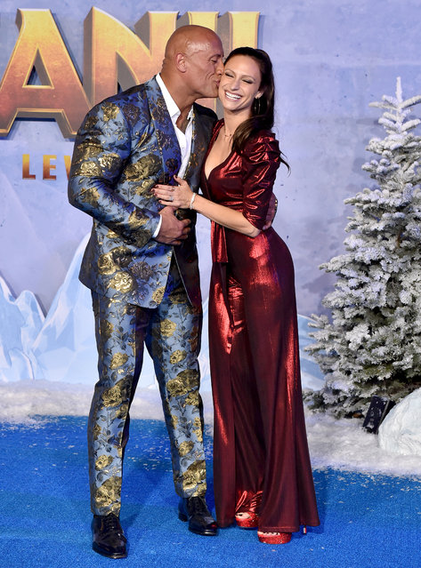 """Dwayne Johnson and Lauren Hashian attend the premiere of Sony Pictures' """"Jumanji: The Next Level"""" on December 09, 2019 in Hollywood, California. (Photo by Axelle/Bauer-Griffin/FilmMagic)"""