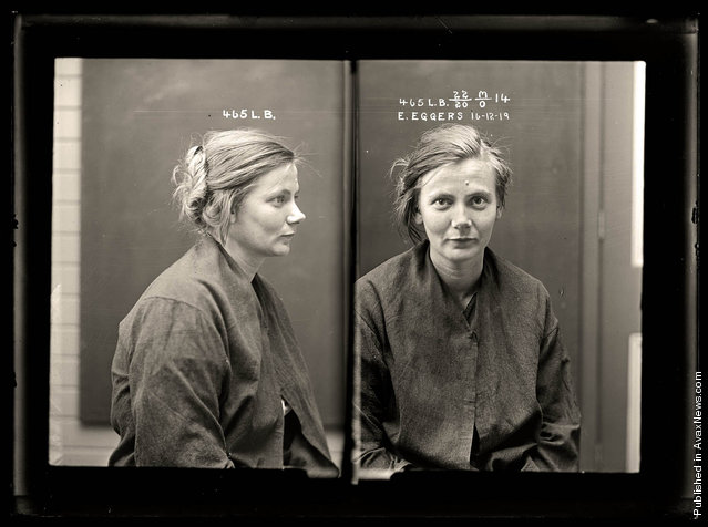 Esther Eggers, criminal record number 465LB, 16 December 1919. State Reformatory for Women, Long Bay, NSW. Crime: malicious injury to property and wounding with intent to do grievous bodily harm