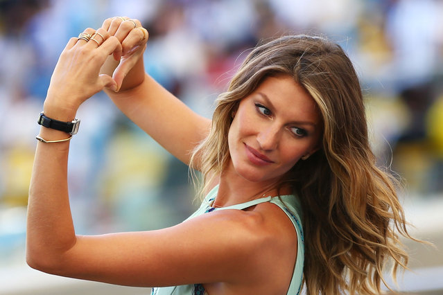 Model Gisele Bundchen looks on prior to the 2014 FIFA World Cup Brazil Final match between Germany and Argentina at Maracana on July 13, 2014 in Rio de Janeiro, Brazil. (Photo by Jamie Squire/Getty Images)