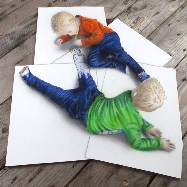 Ramon Bruin's 3D illustration of two twins drawing each other. (Photo by Ramon Bruin/Medavia)