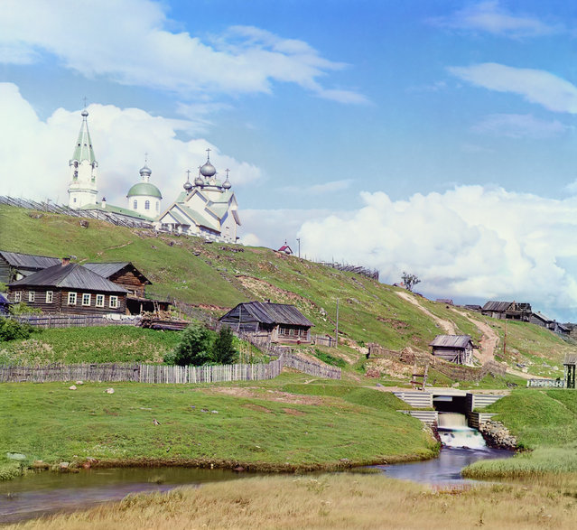 Photos by Sergey Prokudin-Gorsky. Village of Deviatiny and the Saint Boris dam. Russia, Olonets province, Vytegra county, Deviatiny, 1909