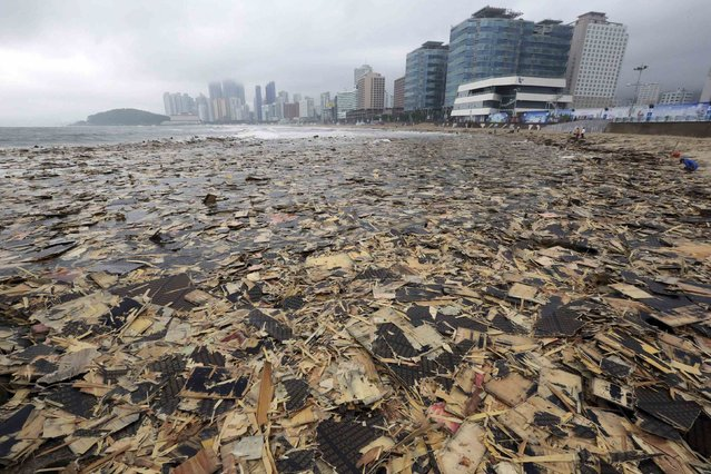 Pieces of wood and debris believed by the Busan Coast Guard to be from a cargo ship which sank in the sea off Busan a year ago, cover Haeundae Beach after Typhoon Nakri battered Busan August 4, 2014. (Photo by Jo Jung-ho/Reuters/Yonhap)