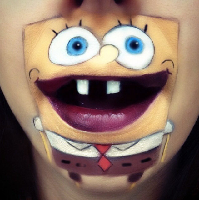 Makeup artist Laura Jenkinson paints popular cartoon characters on her face, using her own mouth as the teeth and lips of her subjects. Here, Nickelodeon's Spongebob is depicted on Jenkinson. (Photo by Laura Jenkinson/Caters News)
