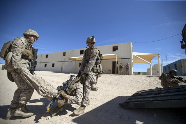 "U.S. Marines from Fox Company, 2nd Battalion 1st Marines, 13th Marine Expeditionary Unit evacuate a ""killed in action"" during a non-live fire Military Operations in Urban Terrain (MOUT) training at US Marine Corps: Marines Air Ground Combat Center in Twentynine Palms, California September 1, 2015. (Photo by Mario Anzuoni/Reuters)"