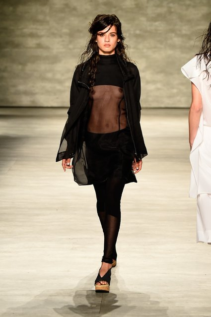 A model walks the runway at the Parkchoonmoo fashion show during Mercedes-Benz Fashion Week Spring 2015 at The Pavilion at Lincoln Center on September 7, 2014 in New York City. (Photo by Frazer Harrison/Getty Images for Mercedes-Benz Fashion Week)
