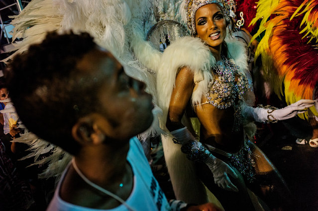 """Rio de Janeiro, Carnaval. """"Getting inside permission is always the key. I always want to be where nobody can go or should go. Backstage. In the middle"""". (Photo by David Alan Harvey/Magnum Photos/The Guardian)"""
