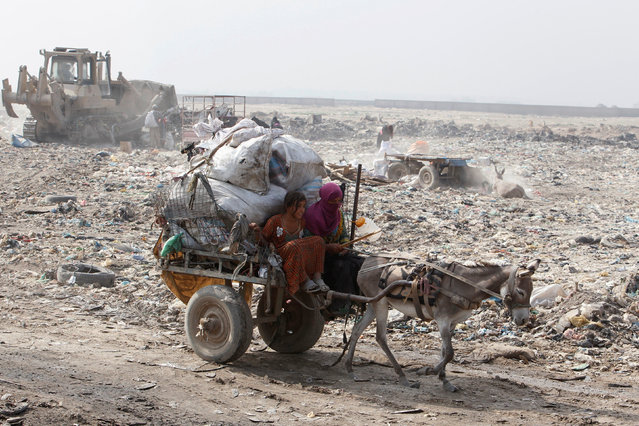 Garbage pickers collect ride on donkey cart while looking for recyclable materials at a rubbish dump in the outskirts of Baghdad, Iraq, August 23, 2016. Despite its huge untapped oil and gas reserves and steadily rising oil output and revenue, 23 percent of the population live below the poverty line, according to the Ministry of Planning. Eg, for 12-year-old Mohammed, life in Sadr City means long days during his school holidays scrabbling through the refuse in the scorching summer heat before selling his daily haul to a middleman. He sells each kilogram (2.2 lb) of plastic bottles or soda cans for 250 Iraqi dinars (around 20 U.S. cents), earning between 2,000 to 4,000 dinars ($1.50–$3) a day. A International Labor Organization report listing dangerous jobs in which children are engaged across the world mentioned collecting garbage as one of the activities in which minors risked suffering violence and injury. (Photo by Khalid al Mousily/Reuters)