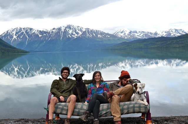 Becca D'Agostine, Andy Fuhrmann and Dafid Fine came up with a unique way to document their road trip by taking selfies on a couch at each location. Here they are seen at Mount Baker, Wash. (Photo by Caters News)