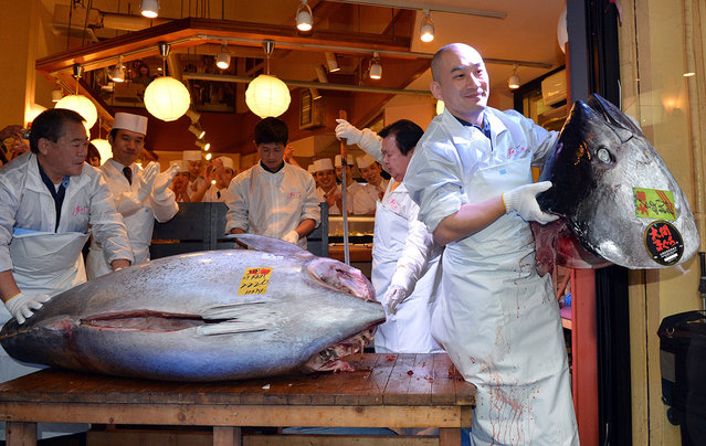 An employee of Kiyomura Co. poses with the head of the bluefin tuna. (Photo by Koji Sasahara/Associatred Press)