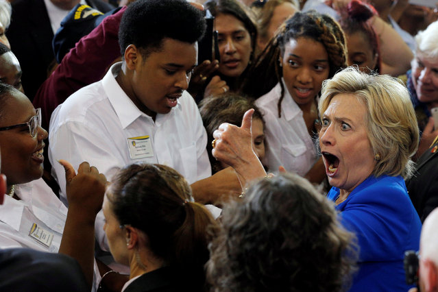 U.S. Democratic presidential candidate Hillary Clinton reacts while greeting audience members at a campaign voter registration event at Johnson C. Smith University in Charlotte, North Carolina, United States September 8, 2016. (Photo by Brian Snyder/Reuters)