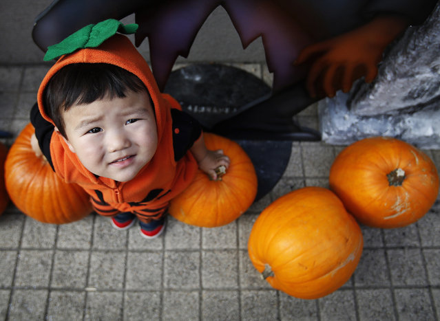 Two-year-old Shunto, wearing a Halloween outfit, sits on pumpkins before a Halloween parade in Kawasaki, south of Tokyo, October 26, 2014. More than 100,000 spectators turned up to watch the parade, where 2,500 participants dressed up in costumes, according to the organiser. (Photo by Yuya Shino/Reuters)