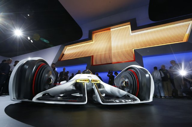 The front of the Chevorlet Chaparral 2X Vision Gran Turismo concept car is shown during its world debut at the Los Angeles Auto Show in California, November 19, 2014. (Photo by Lucy Nicholson/Reuters)