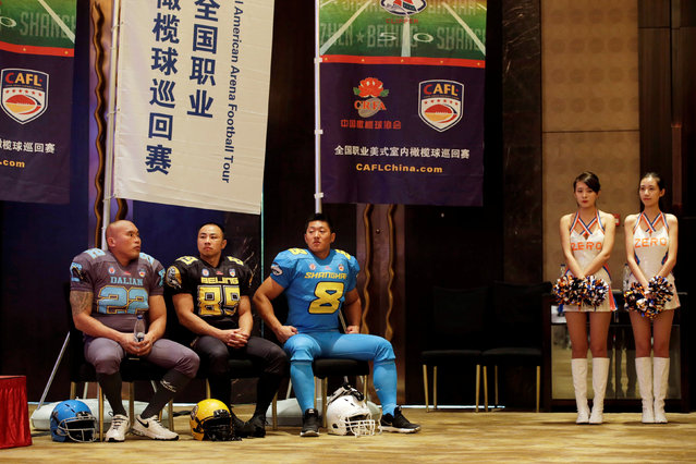 A news conference is held to launch China Arena Football League (CAFL) in Beijing, China, September 29, 2016. (Photo by Jason Lee/Reuters)