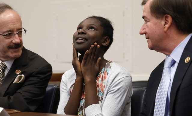 Nigerian teenager Deborah Peters, the sole survivor of a Boko Haram attack on her family in 2011, speaks to reporters on Capitol Hill in Washington, in this May 21, 2014 file photo. (Photo by Kevin Lamarque/Reuters)