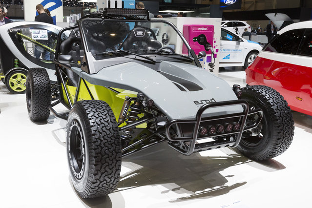The New E'Mobile eRod offroad Kyburz is presented during the press day at the 88th Geneva International Motor Show in Geneva, Switzerland, Tuesday, March 6, 2018. The Motor Show will open its gates to the public from March 8 to March 18 presenting more than 180 exhibitors and more than 110 world and European premieres. (Photo by Cyril Zingaro/Keystone via AP Photo)