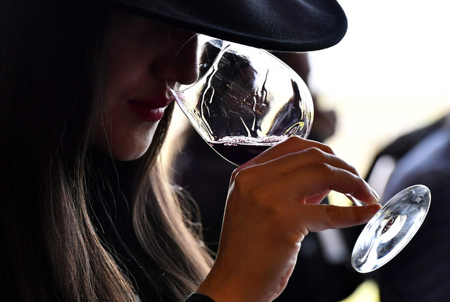 """A woman tastes red wine during a wine tasting session at the Chateau La Dominique in Saint- Emilion, southwestern France, on April 10, 2018, during the """"Semaine des Primeurs"""" to present wines from the Bordeaux region The event took place from April 9 until April 12, 2018. (Photo by Georges Gobet/AFP Photo)"""