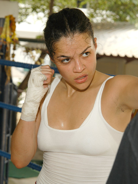 Michelle Rodriguez during 2004 Bangkok International Film Festival – Michelle Rodriguez Kick Boxing at Light Infantry, First Platoon, Fourth Battalion, Military Camp in Bangkok, Thailand. (Photo by Mark Sullivan/Getty Images)