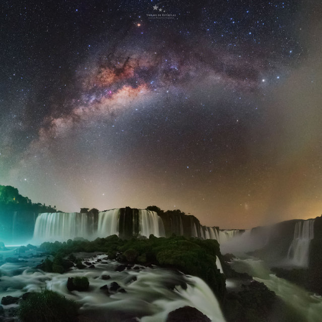 """Devil's throat; Iguazu Falls, Brazil. """"Photographing Iguazu Falls at night has always been one of my priority projects. I needed to obtain a special authorisation. The first challenge was to walk around the park at night knowing that several jaguars live there, which are frequently seen by employees and tourists. In the area closest to the main waterfalls, the big challenge was to make long exposure images with the strong water spray from the more than 1.5m litres per second that fall through the waterfalls. Working with exposure times longer than 10 or 15 seconds became an almost impossible task and the lens was never dry. In this image, we have one of the main waterfalls of the Iguazu Falls complex, the Santa Maria Jump. Right over the fall, we can see Saturn and the zodiacal light illuminating the horizon. Further up there is the Milky Way core. We can also identify some of the main emission nebulae present in this region of the sky"""". (Photo by Victor Lima/Milky Way Photographer of the Year)"""