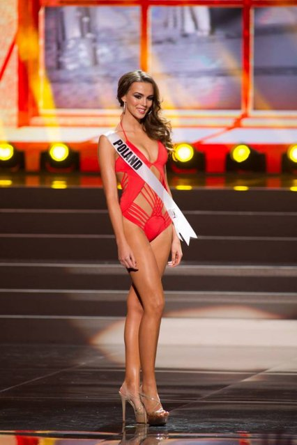 This photo provided by the Miss Universe Organization shows Paulina Krupińska, Miss Poland 2013, competes in the swimsuit competition during the Preliminary Competition at Crocus City Hall, Moscow, on November 5, 2013. (Photo by Darren Decker/AFP Photo)