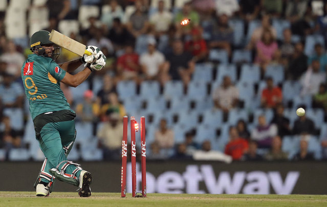 Pakistan's batsman Imad Wasim is bowled by South Africa's bowler Beuran Hendricks during the third T20 cricket match between South Africa and Pakistan at the Centurion Park in Pretoria, South Africa, Wednesday, February 6, 2019. (Photo by Themba Hadebe/AP Photo)