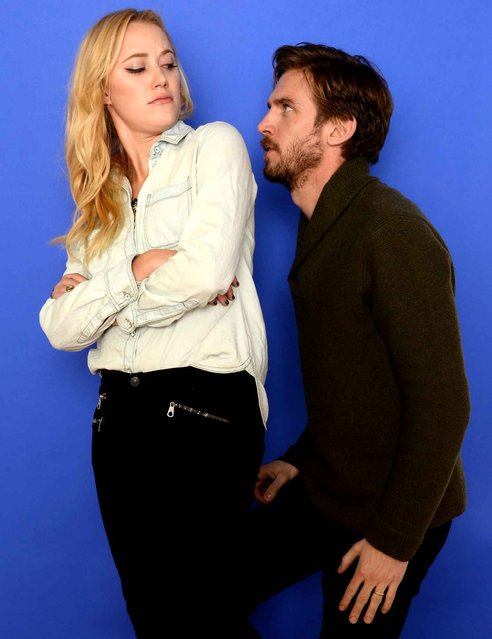 Actors Maika Monroe (L) and Dan Stevens pose for a portrait during the 2014 Sundance Film Festival at the Getty Images Portrait Studio at the Village At The Lift on January 18, 2014 in Park City, Utah. (Photo by Larry Busacca/AFP Photo)