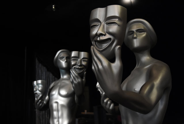 """Screen Actors Guild """"Actor"""" statues for Sunday's SAG Awards ceremony are pictured at the Shrine Auditorium on Friday, January 27, 2017, in Los Angeles. (Photo by Chris Pizzello/Invision/AP Photo)"""