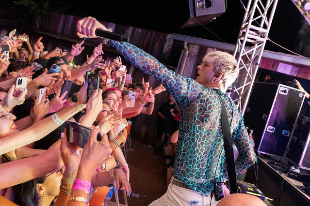 US rapper Machine Gun Kelly performs during ACL Fest Nights at Stubbs Waller Creek Amphitheater on September 30, 2021 in Austin, Texas. (Photo by Suzanne Cordeiro/AFP Photo)