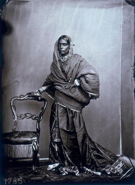 Full portrait of a woman in the harem in the royal palace of Jaipur, India, 1857 – 1865. (Photo by Maharaja Ram Singh III/Alinari via Getty Images)