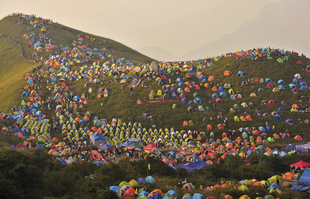 Numerous tents are seen during the 2013 International I Camping Festival in Mount Wugongshan of Pingxiang, Jiangxi province, China, September 14, 2013. (Photo by Reuters/Stringer)