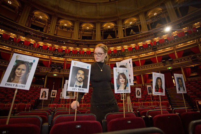 BAFTA staff lay out heads-on-sticks marking the seating plan at the Royal Albert Hall in London, Thursday, February 9, 2017, ahead of the EE British Academy Film Awards on Sunday Feb. 12. (Photo by Joel Ryan/Invision/AP Photo)