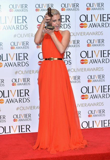 """Denise Gough winner of the Best Actress Award for """"People, Places and Things"""" poses in the winners room at The Olivier Awards at The Royal Opera House on April 3, 2016 in London, England. (Photo by Anthony Harvey/Getty Images)"""