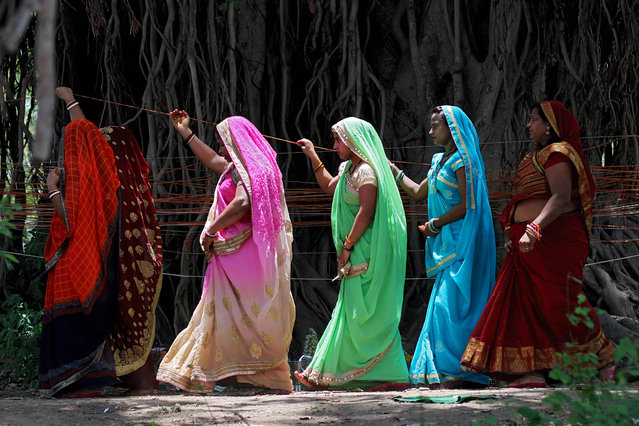 """Married Indian women perform rituals on a sacred Banyan tree on the occasion of """"Vat Savitri Puja"""" festival, in Jabalpur on June 3, 2019. The """"Vat Savitri Puja"""" festival is an auspicious day in Hinduism when married women observe fast and pray for their husband's health and longevity. (Photo by Uma Shankar Mishra/AFP Photo)"""
