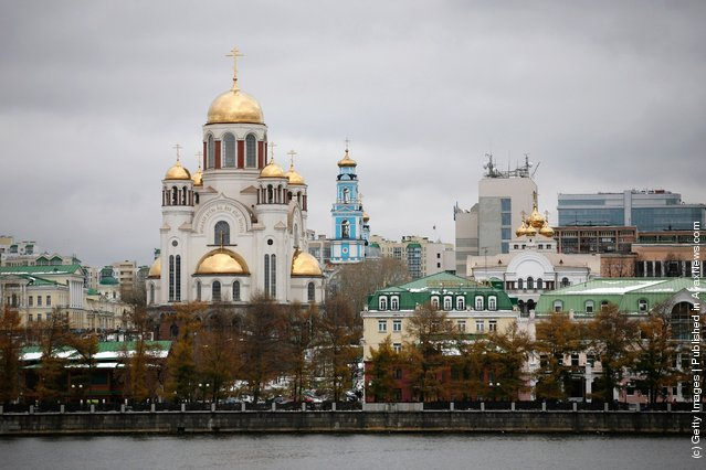 A general view of the Cathedral on the Blood in Yekaterinburg, Russia
