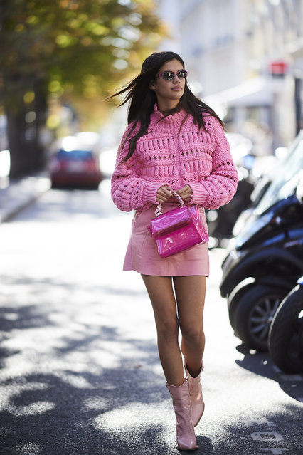 Sara Sampaio is seen wearing a pink knit sweater and a pink leather skirt during Paris Fashion Week Spring/Summer 2019 on September 24, 2018 in Paris, France. (Photo by Timur Emek/Getty Images)