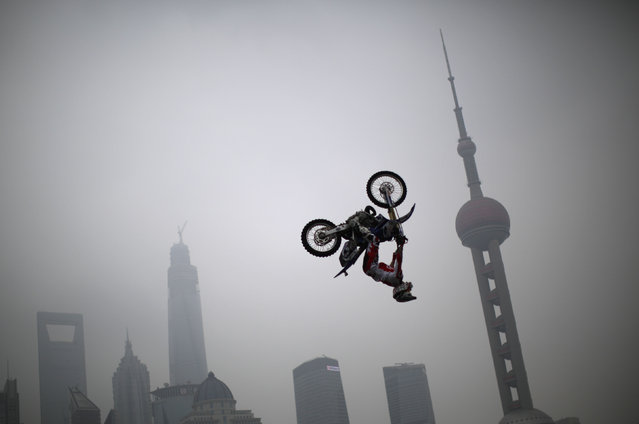 Michael Norris of Australia performs during a presentation of the World Extreme Games in Shanghai April 27, 2014. The games will be held in Shanghai from April 30 to May 3. (Photo by Carlos Barria/Reuters)