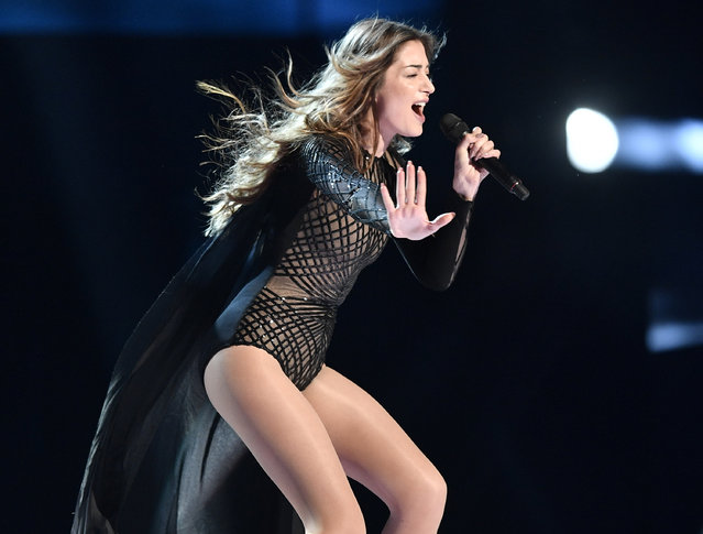 Iveta Mukuchyan of Armenia performs during the first dress rehearsal for the Eurovision Song Contest final in Stockholm, Sweden, Friday, May 13, 2016. (Photo by Martin Meissner/AP Photo)