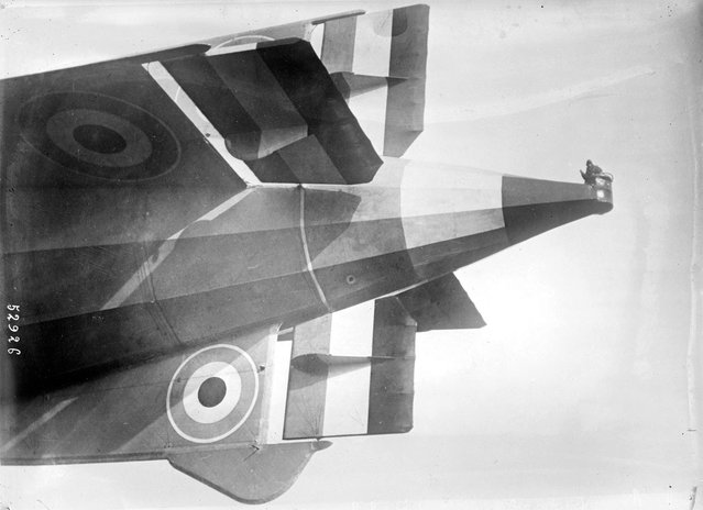 An observer in the tail tip of the English airship R33 on March 6, 1919 in Selby, England. (Photo by Bibliotheque nationale de France via The Atlantic)